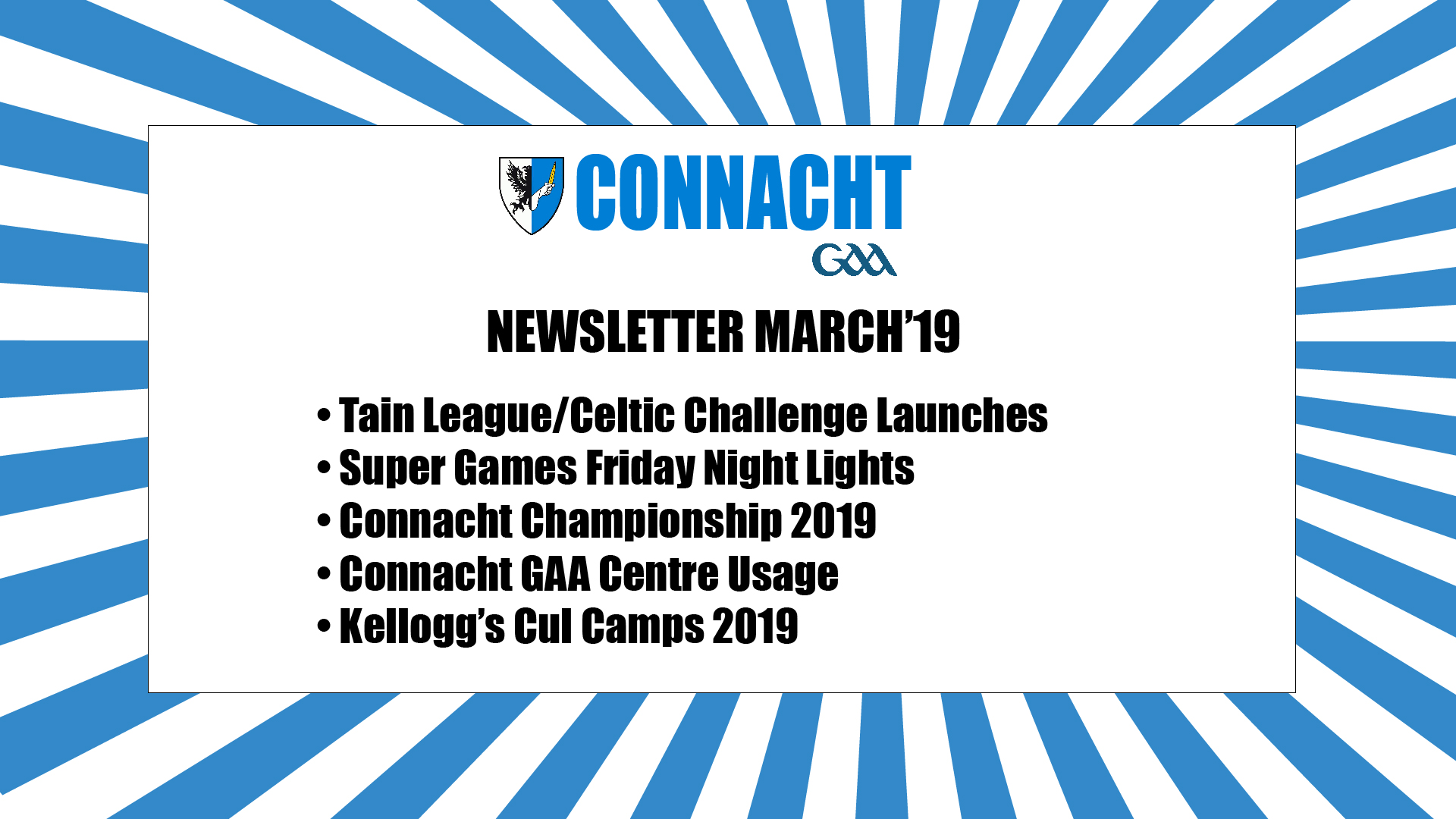 Connacht GAA Newsletter for March Published